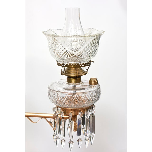 Gold Three Light Aesthetic Movement Red Brass and Crystal Chandelier For Sale - Image 8 of 11