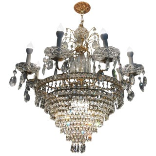 Neoclassical Style Possible Swarovski Twelve-Light Tiered Chandelier For Sale