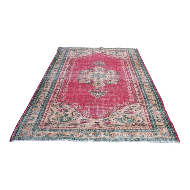 Modern Turkish Oushak Handwoven Tribal Red Wool Floral Rug For Sale