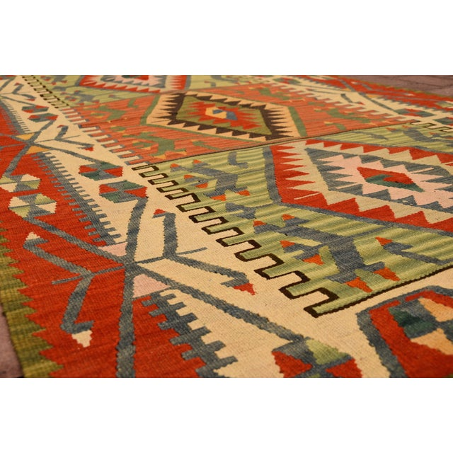 "1990s Turkish Handmade Anatolian Kilim Wool Rug - 3'7"" X 6'2"" For Sale - Image 5 of 6"