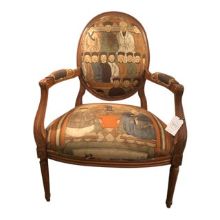19th Century Vintage Chinese Ancestor Fabric Armchair For Sale