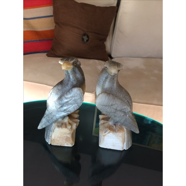 Carved Alabaster Eagle Bookends - A Pair - Image 2 of 10