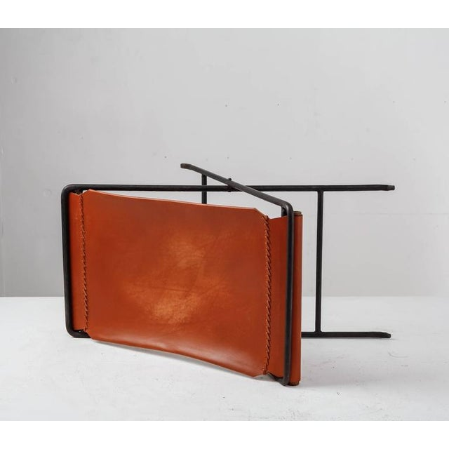 Cleo Baldon Cleo Baldon Leather and Iron Folding Stool, California, 1960s For Sale - Image 4 of 10