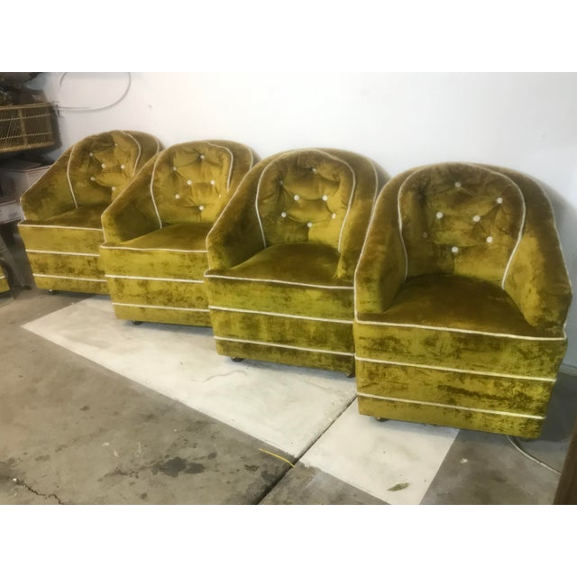 1970s Milo Baughman Green Barrel Club Chairs- Set of 4 For Sale - Image 9 of 10