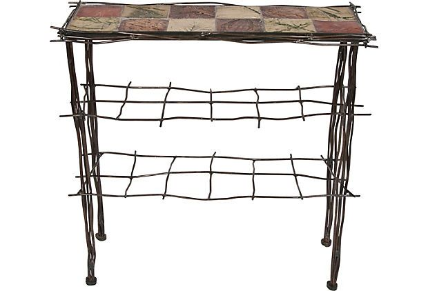 Contemporary Iron U0026 Tile Entry Table For Sale   Image 3 ...
