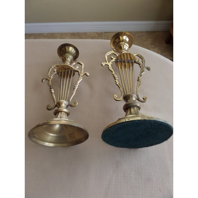 Solid BrassMusical Harp Design Candle Holders - A Pair For Sale - Image 9 of 10