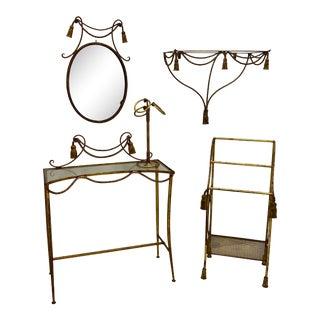 1960s Regency Style Italian Gilt Tassel Vanity / Desk Set: Wall Shelf, Towel Rack, Hand Towel, and Mirror