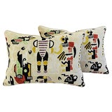 Image of Custom Tailored Clarence House Velvet Fabric Feather/Down Pillows - Pair For Sale