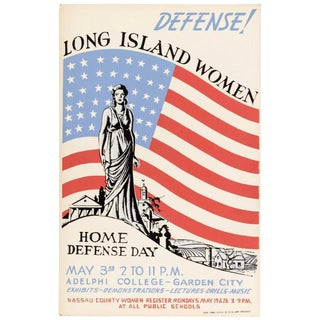 1938 Vintage New York Works Project Administration Original Wpa Home Defense Day Poster For Sale