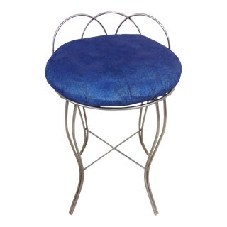 Mid-Century Modern Polished Steel Vanity Chair For Sale