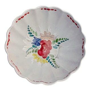 Vintage Ca 1930s Kurt Ekholm for Ara Arabia Finland Terra Cotta Floral Salad Bowl For Sale