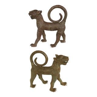 Vintage Benin (Nigeria) Figural Bronze Sculptures of Leopards - a Pair For Sale