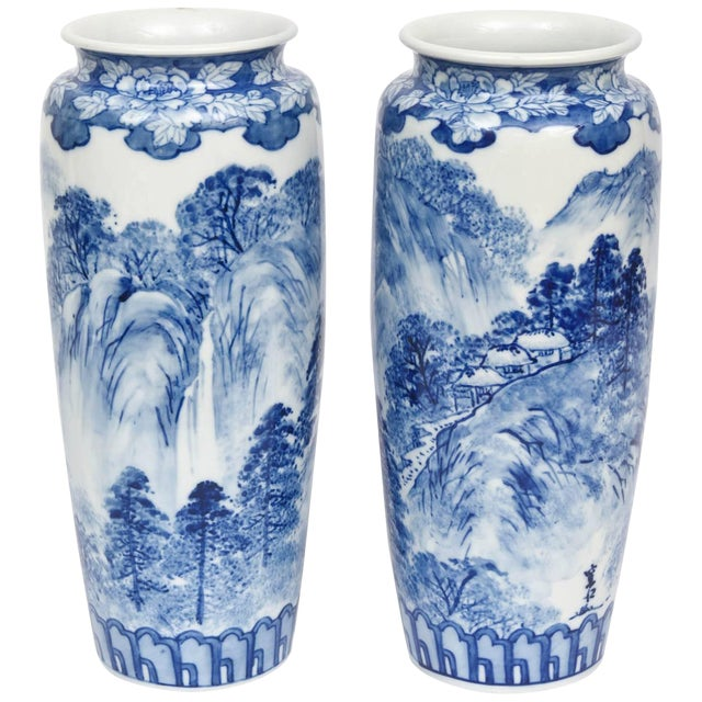 Pair of Vases, Antique Blue and White Japanese, Signed For Sale
