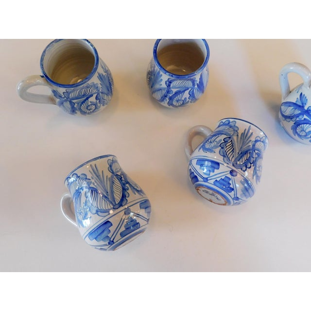 Ceramic Hand Made Rustic Blue and White Studio Mugs - Set of 5 For Sale - Image 7 of 9