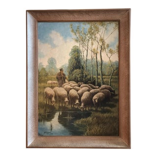 1940s Vintage Mary A. Bailey Oil on Board Painting For Sale