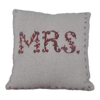 "Embroidered ""Mrs."" Pillow For Sale"