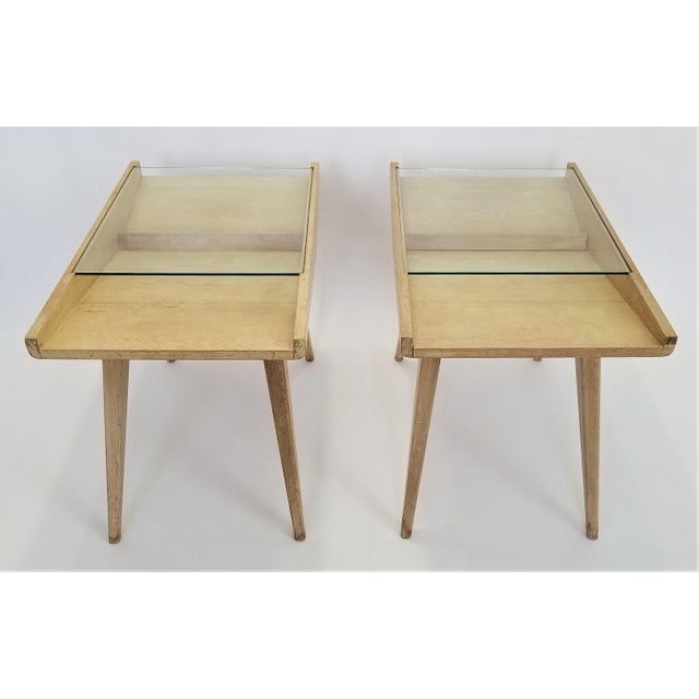 Transparent Pair End Tables or Nightstands Magazine Style -1950s Vintage Blond Wood and Glass - Mid Century Modern Minimalist Sleek For Sale - Image 8 of 13