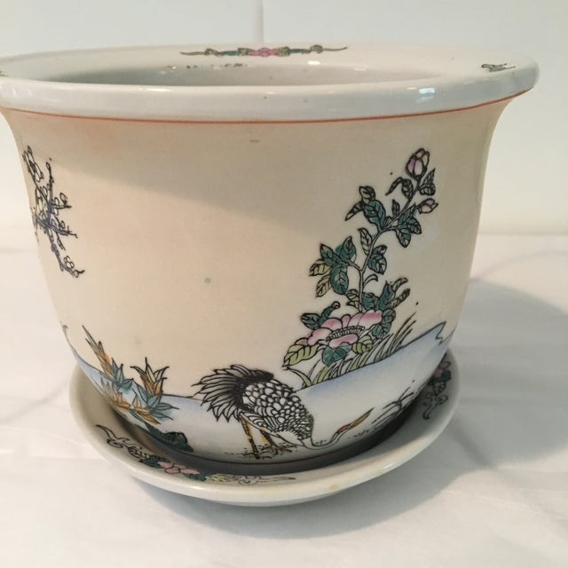 1970s Chinese Cream Colored Planter and Tray - 2 Pieces For Sale - Image 6 of 11