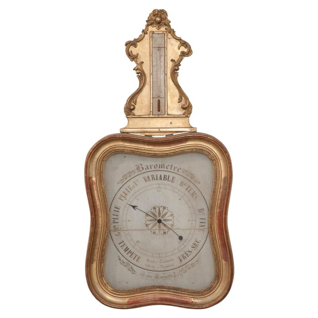 French 19th Century Gold Gilt Barometer For Sale