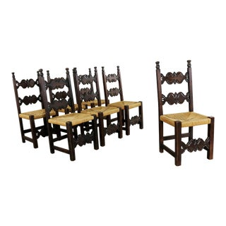 7 Spanish Revival Style Dining Chairs With Rush Seats Artes De Mexico Internacionales Sa For Sale