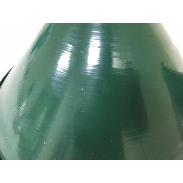 Enamel Mid-Century Industrial Dark Green Enamel Pendant Shades - Set of 2 For Sale - Image 7 of 9