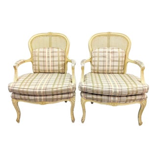 French Country Caned Bergere Arm Chairs - a Pair For Sale