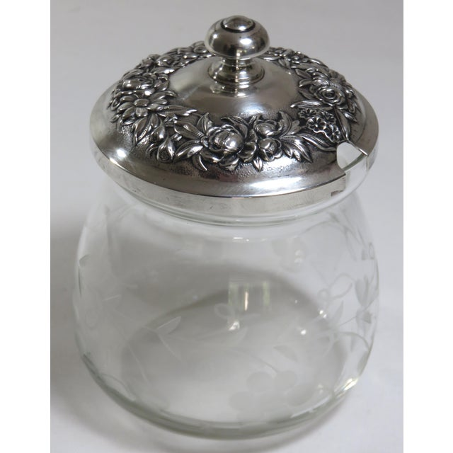 Victorian 1950s Crystal & Sterling Silver Jam Jar For Sale - Image 3 of 13