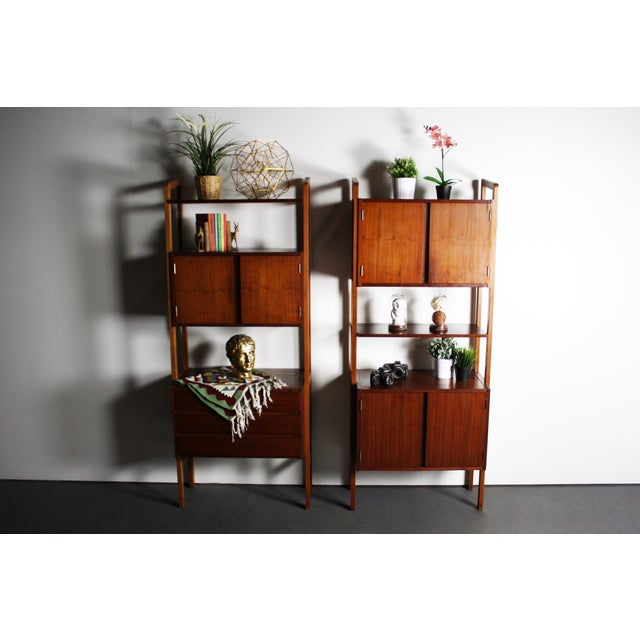 Yugoslavian Mid-Century Teak Wall Units - A Pair For Sale - Image 4 of 9