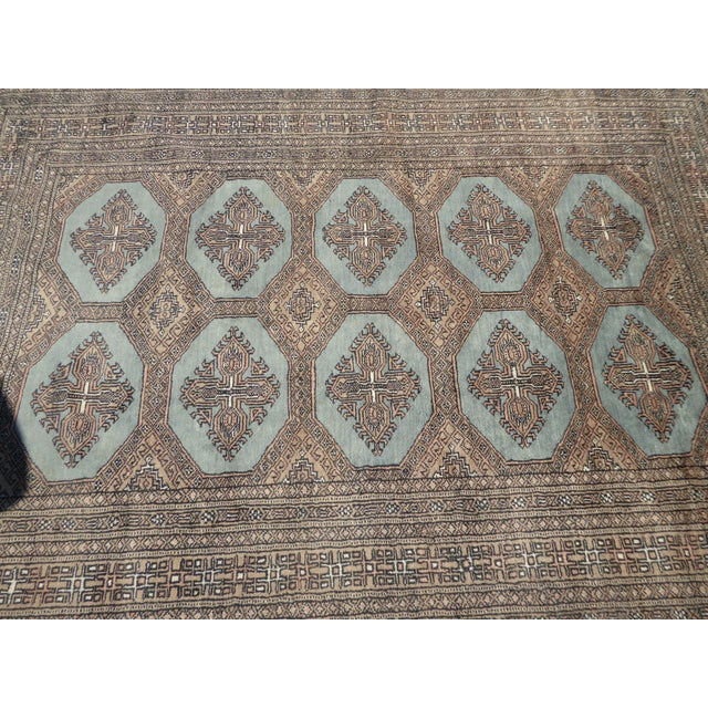 Textile Vintage Mid-Century Handwoven Wool Pakistan Bokhara Area Rug - 4′3″ × 6′7″ For Sale - Image 7 of 12