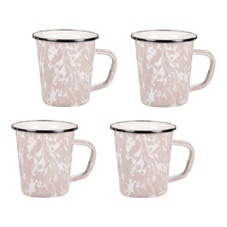 Latte Mugs Taupe Swirl - Set of 4 For Sale
