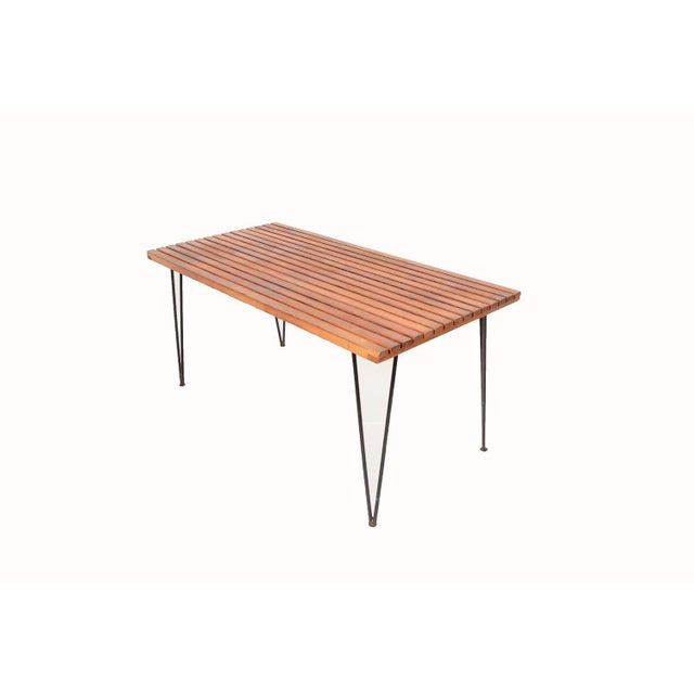 Ficks Reed Sol Air Pipsan Saarinen Slatted Table on Hairpin Legs For Sale - Image 4 of 4