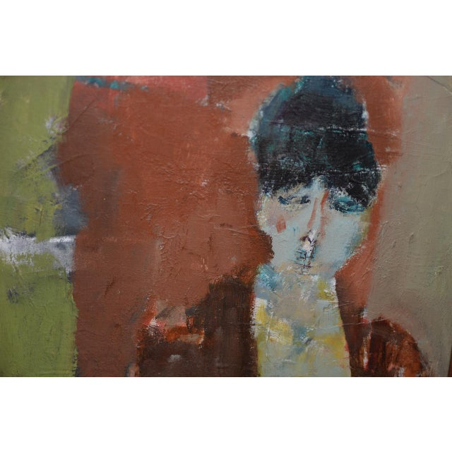 Marcello Avenali (Italy, 1912-1981) Portrait of Young Woman Oil Painting C.1950s For Sale In San Francisco - Image 6 of 8