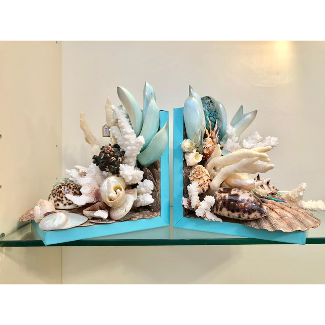 2010s Organic Modern Turquoise Bookends Laden With Rare Shells - a Pair For Sale - Image 5 of 5