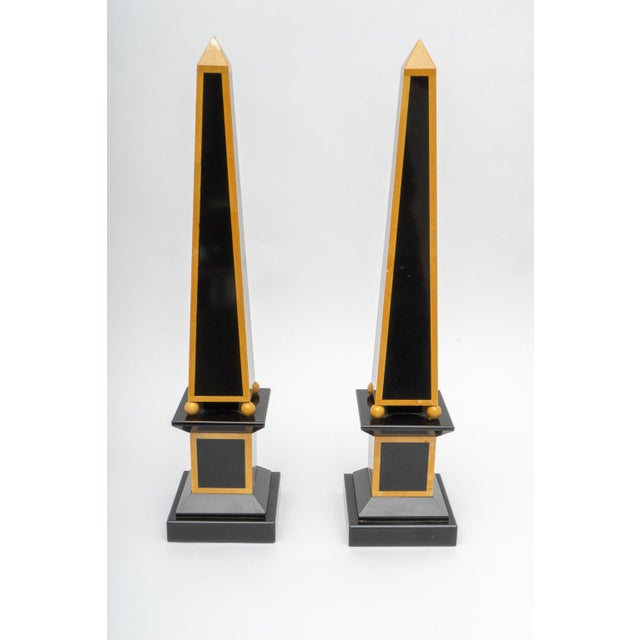 1920s Egyptian Revival Art Deco Marble Obelisks - a Pair For Sale - Image 4 of 9