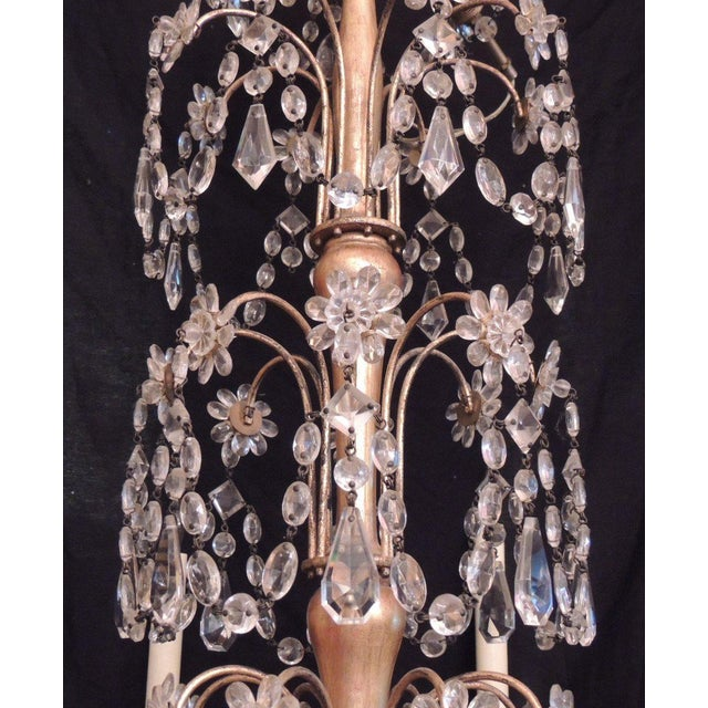 Gold 20th C French Grand Bagues Tole and Crystal Chandelier For Sale - Image 8 of 10