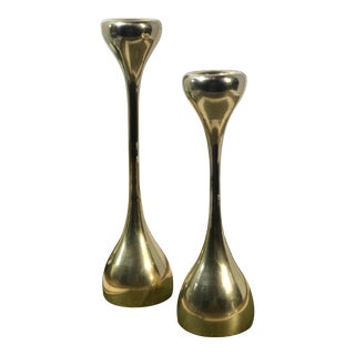 Mid-Century Modern Brass Candle Holders Taper Holders - Set of 2 For Sale