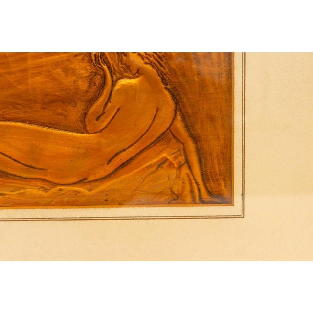 Copper American Art Deco Embossed Copper Plate Bas Relief of a Reclining Nude Female 1930s For Sale - Image 8 of 9