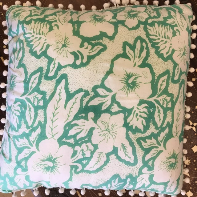 Balinese Green and White Pillow - Image 3 of 3