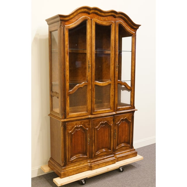 French 20th Century French Country Stanley Furniture Fleur De Bois China Cabinet For Sale - Image 3 of 13
