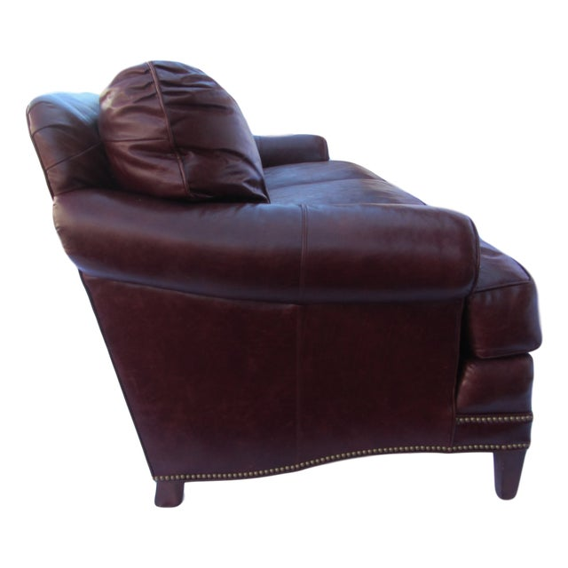 Pearson Pearson Chestnut Leather Sofa with Brass Nailhead Trim For Sale - Image 4 of 8