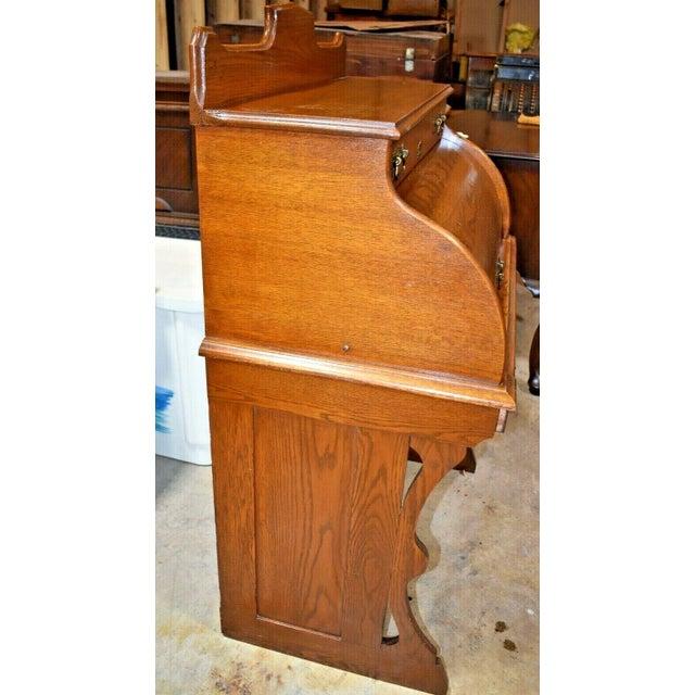 Antique Oak Drum Roll Top Desk For Sale - Image 9 of 11