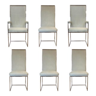 1970s Milo Baughman for Thayer Coggin Chrome Grey Dining Chairs – Set of 6 For Sale