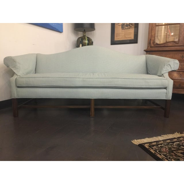 Vintage Mid Century Green & White Checkered Single Cushion Sofa For Sale In Chicago - Image 6 of 6