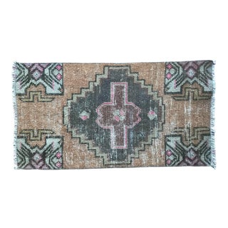 Vintage Turkish Handwoven Doormat For Sale