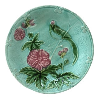 1890s French Majolica Paradise Bird and Flowers Salins Decorative Plates For Sale