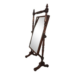 Antique Solid Mahogany Claw Foot Cheval Mirror For Sale