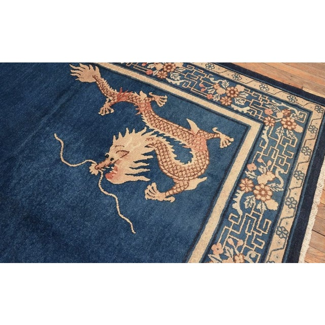 """Blue Antique Chinese Peking Rug 7'0"""" X11'8"""" For Sale - Image 8 of 9"""