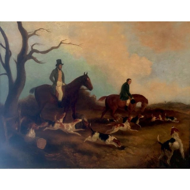 Unusual and folky English hunt scene Mid 19th century. The artist appears to have had a keen sense of humor!