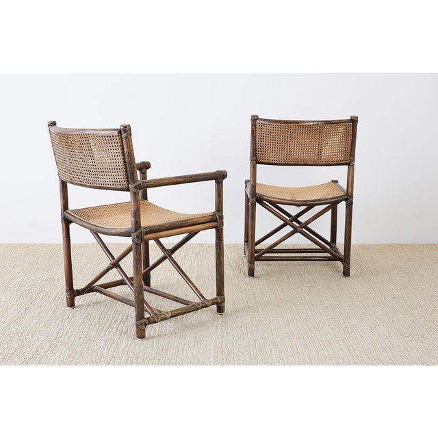Set of Eight McGuire Bamboo Rattan Cane Dining Chairs For Sale - Image 9 of 13