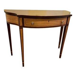 1980s Stickley Neoclassical Demi Lune Console Table With Inlaid Wood Detail For Sale